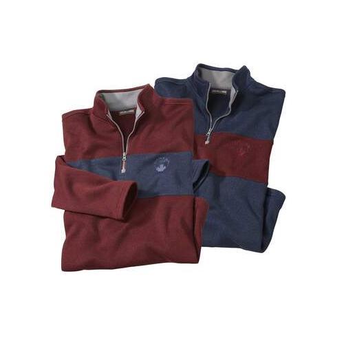 2er-Pack zweifarbige Shirts aus Molton