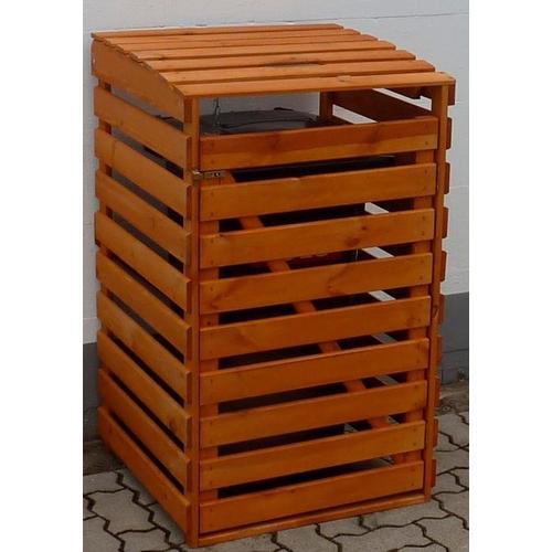 promadino Mülltonnenbox, für 1x120 l aus Holz, BxTxH: 68x63x111 cm braun Mülltonnenbox Mülltonnenboxen Garten Balkon