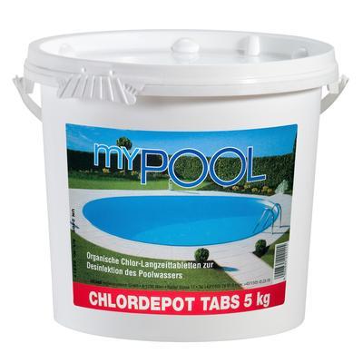 MyPool Chlortabletten Chlordepot Tabs, 5 kg weiß Poolzubehör -reinigung Pools Planschbecken Garten Balkon