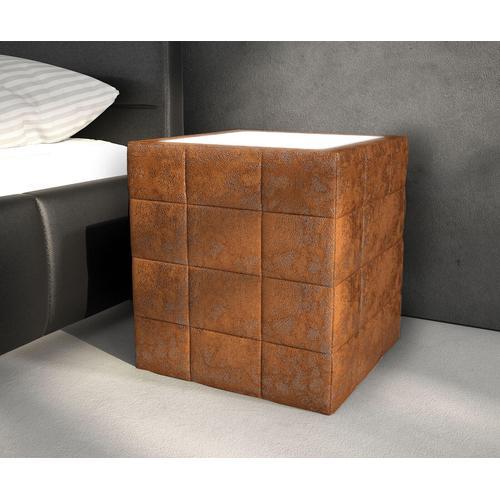 DELIFE Nachttisch Nuncia Big 41x41x57 cm Braun LED Beleuchtung Steppnaht, Nachttische