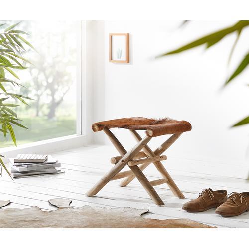 DELIFE Klapphocker Koza 46x40 Braun Ziegenfell Teak, Sitzhocker / Sitzwürfel
