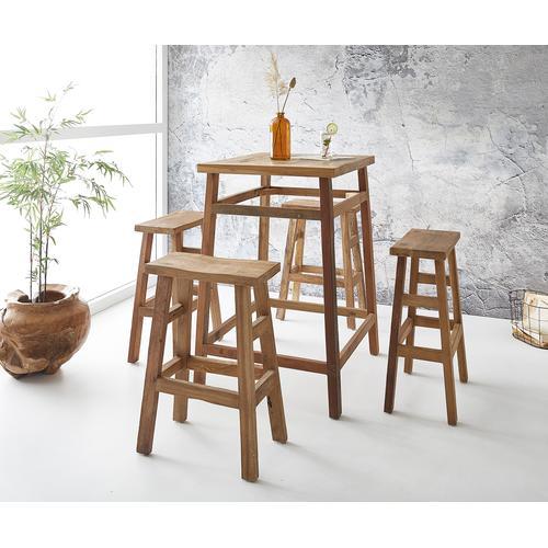 DELIFE Bartisch Dafna 80x70x110 cm Exotic Wood Set mit 4 Stühlen, Bartische