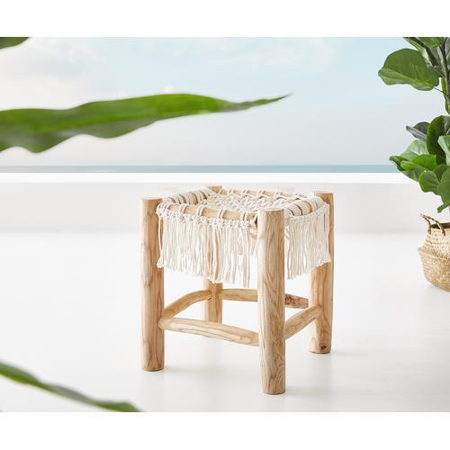 DELIFE Sitzhocker Melania 40x40 cm Teak Natur mit Makramee, Sitzhocker / Sitzwürfel