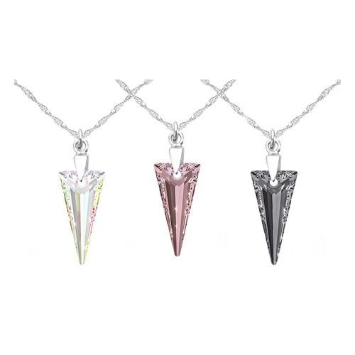 2x Halskette mit Swarovski®-Kristall: 18 mm/ AB & Clear