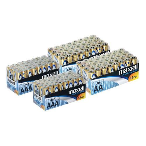 Maxell Alkaline-Batterien: 128 AA-Batterien + 128 AAA-Batterien
