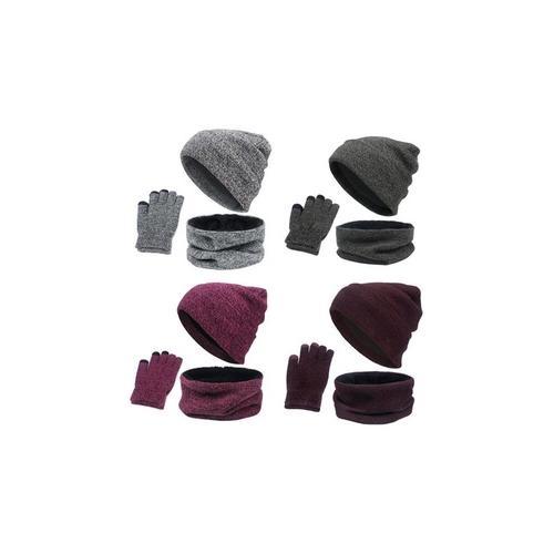 Accessoires-Set für den Winter: Dunkelgrau und Weinrot / 2