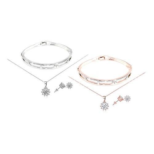 3-teiliges Schmuck-Set mit Swarovski®-Kristallen: Roségold