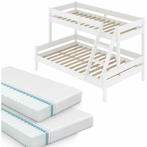 VITALISPA Kinderbett EVEREST Etagenbett Weiß Hochbett Spielbett Massiv Stockbett