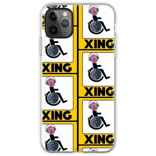 Lustige Rollstuhl-Strichmännchen DJ-Kreuz-Zeichen Flexible Hülle für iPhone 11 Pro Max