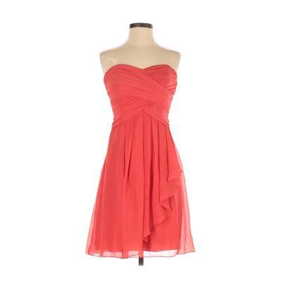 David's Bridal Cocktail Dress - Mini: Orange Solid Dresses - Used - Size 6