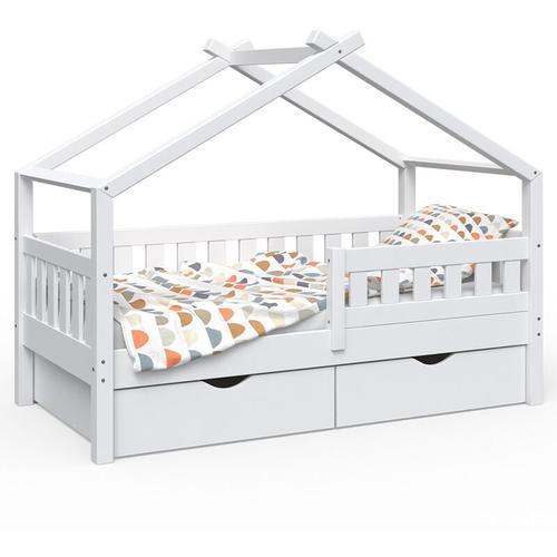 Design Kinderbett 160x80 Babybett Jugendbett 2 Schubladen Lattenrost - Vitalispa
