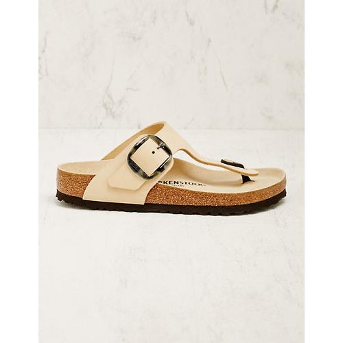 Birkenstock Damen Leder-Pantoletten Gizeh beige Sandalen