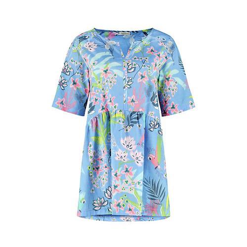 Deerberg Damen Tunika Gemalie himmelblau bedruckt Bluse
