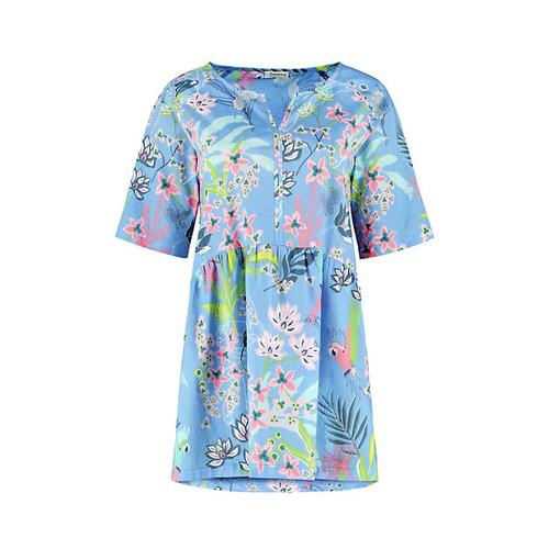 Deerberg Damen Tunika Gemalie himmelblau-bedruckt Bluse