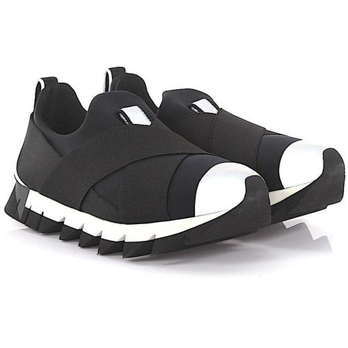 Dolce & Gabbana Schuhe Sneakers Stoff Stretchband schwarz grau