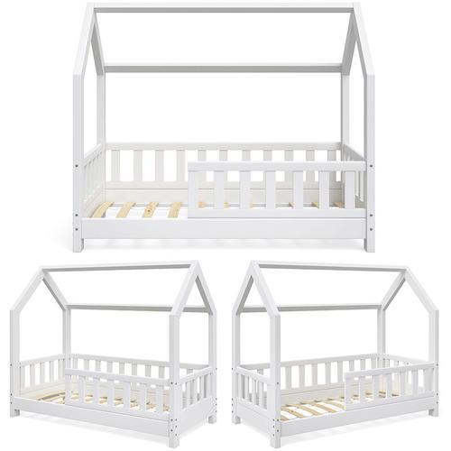 Hausbett WIKI 70x140 Zaun Weiß Kinderbett Kinderhaus Kinder Bett Holz - Vitalispa