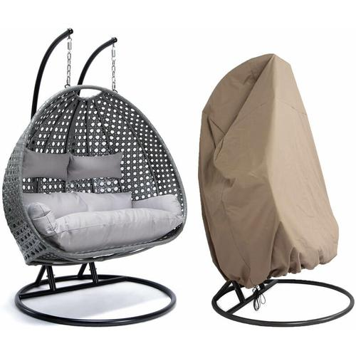 Polyrattan Hängesessel TWIN grau - komplett inkl. Regenabdeckung | Hängestuhl, Hängekorb,