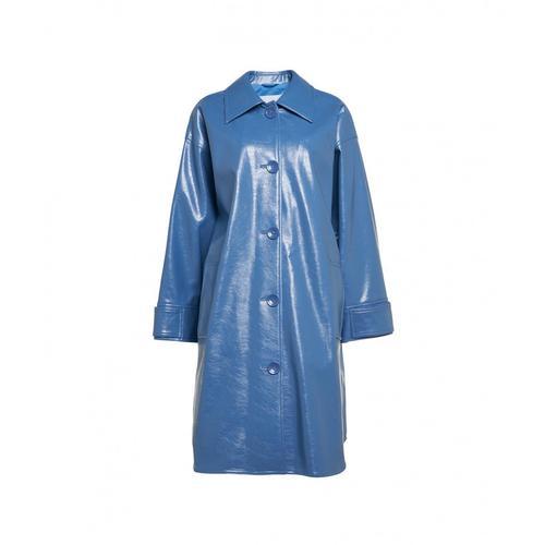 Stand Damen Eco-Leder Mantel Kali Blau