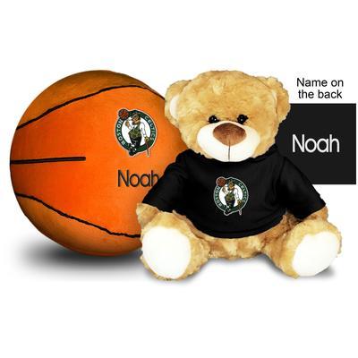 """Black Boston Celtics 10'' Personalized Plush Bear & Basketball Set"""