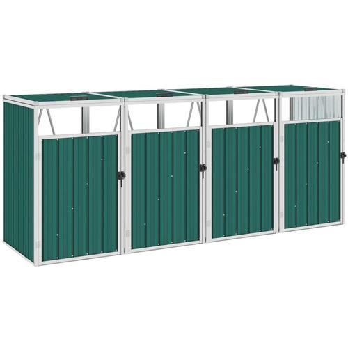 YOUTHUP Mülltonnenbox für 4 Mülltonnen Grün 286×81×121 cm Stahl