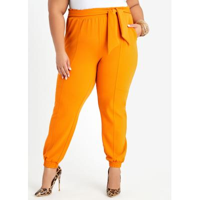 Plus Size Belted Crepe High Wais...