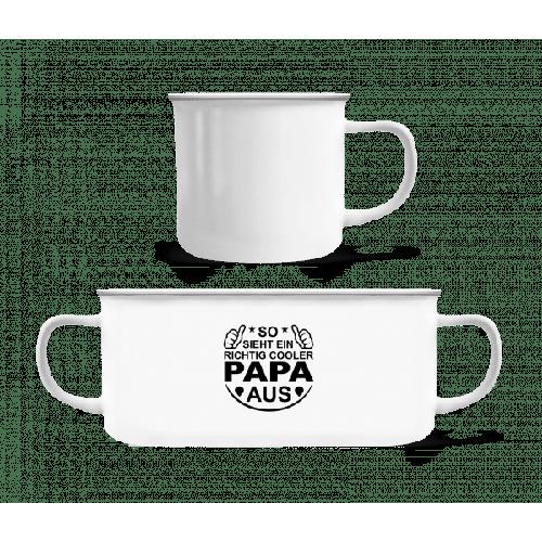 Richtig Cooler Papa - Emaille-Tasse