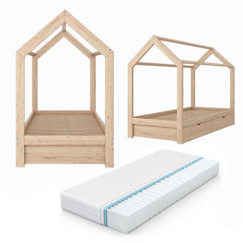 VITALISPA Kinderbett Hausbett Kinderhaus Bett Holzbett Spielbett Weiß Grau Natur