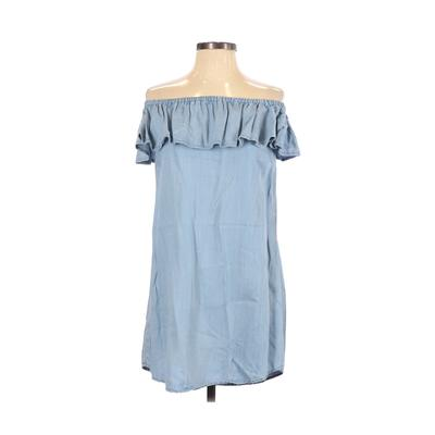 Lulu's Casual Dress - Shift: Blue Solid Dresses - Used - Size X-Small