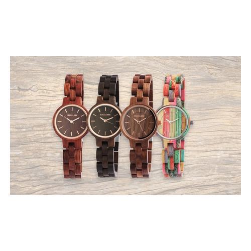 Excellanc Holz Armbanduhr: 2/ Rotes Sandelholz + Sandelholz