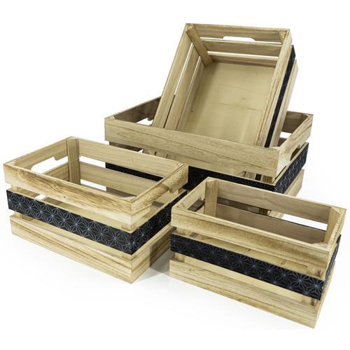 NOOR LIVING Aufbewahrungsbox Aufbewahrungsboxen-Set 4-tlg., natur, mittig bedruckt, (Set, 4 St.) beige Kleideraufbewahrung Aufbewahrung Ordnung Wohnaccessoires