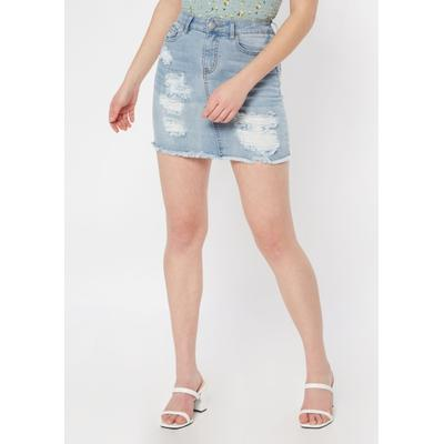 Rue21 Womens Light Wash Ripped Jean Skirt - Size S