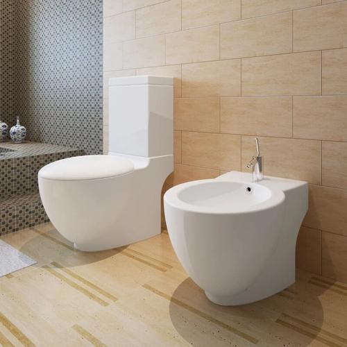 Stand-Toilette/WC+Soft WC Sitz+Stand-Bidet Bodenstehend weiß