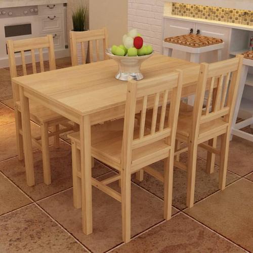 Esstisch Holztisch mit 4 Holzstühlen Esszimmerset Essgruppe