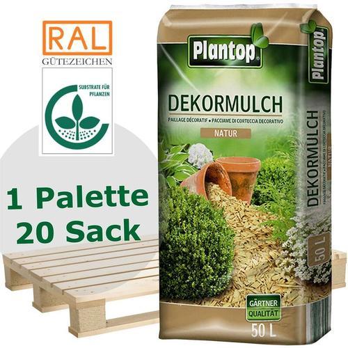 20 Sack Dekor-Mulch natur 10-40mm, Gartenmulch, 50 Liter - Plantop