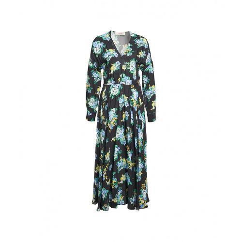 Jucca Damen Midi Kleid mit Blumenprint Schwarz