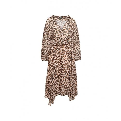 Liu Jo Damen Kleid mit Leoprint Beige