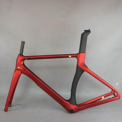 Cadre de vélo de route/course rouge métallisé,design aérodynamique, en fibre de carbone, nouveau