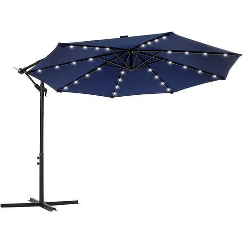 Sonnenschirm mit LED-Solar-Beleuchtung, Ampelschirm, Gartenschirm, 32 LED-Lämpchen, Ø 300 cm, mit