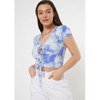 Rue21 Womens Blue Tie Dye Lace Up Short Sleeve Cardigan - Size S