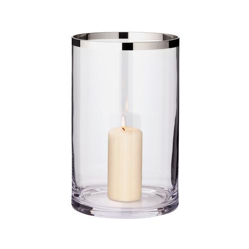 EDZARD Windlicht Molly, Laterne aus Kristallglas mit Platinrand, Kerzenhalter für Stumpenherzen, Höhe 30 cm, Ø 17 cm farblos Kerzen Laternen Wohnaccessoires