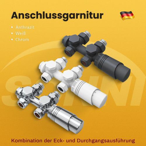 Heizkörper Thermotstat Anschlussgarnitur Ventil Heizkörper Hahnblock Weiß,Mittelanschluss