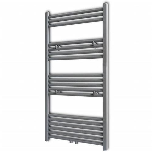 Badheizkörper Handtuchhalter gerade Röhre Grau 600 × 1160 mm