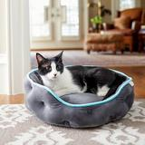 Frisco Crown Quilted Cat & Dog Bolster Bed, Gray