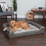 FurHaven Luxe Fur & Performance Linen Cooling Gel Top Sofa Cat & Dog Bed w/Removable Cover, Charcoal, Jumbo