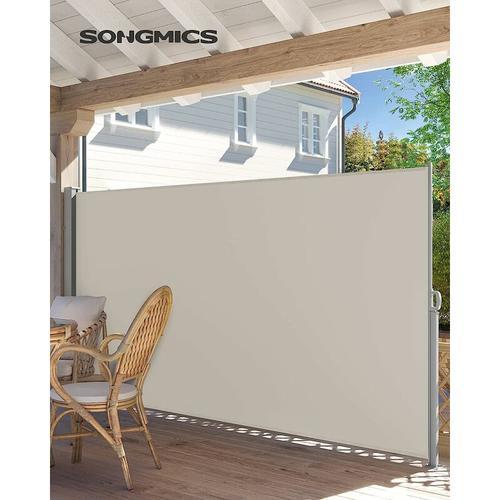 Songmics - Seitenmarkise, ausziehbar, 200 x 350 cm (H x L), Sichtschutz, Sonnenschutz, Seitenrollo,