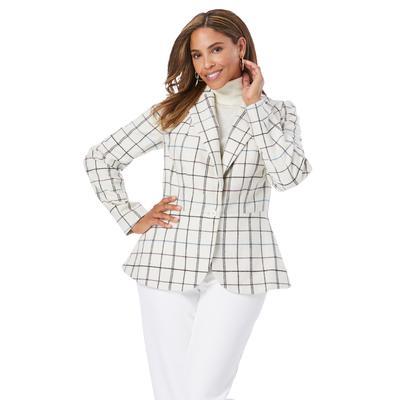 Plus Size Women's Wool-Blend Peplum Blazer by Jessica London in Teal Purple Simple Plaid (Size 14 W)
