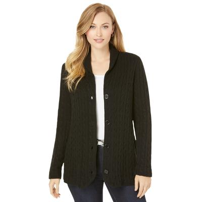 Plus Size Women's Cable Blazer Sweater by Jessica London in Black (Size 22/24)