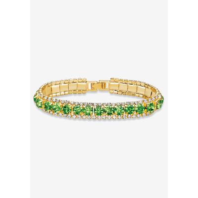 """Plus Size Women's Gold Tone Tennis Bracelet (10mm), Round Birthstones and Crystal, 7"""" by PalmBeach Jewelry in August"""