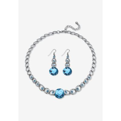 Plus Size Women's Silver Tone Collar Necklace and Earring Set, Simulated Birthstone by PalmBeach Jewelry in March