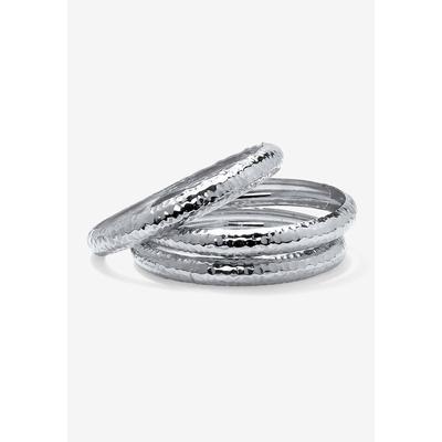 "Plus Size Women's Silvertone Hammered 3 Piece Stack Bracelet Set, 8.5"" by PalmBeach Jewelry in Silver"